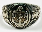 Vintage Wwi Era Sterling Silver Us Military Navy Menand039s Ring Size 11 Signet 925