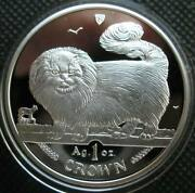 Isle Of Man Crown 1997 Sliver Proof 1oz Coin Cat Serieslong-haired Smoke Cat
