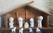 Precious Moments 1986 Large Nativity Come Let Us Adore Him Manger Stable Creche
