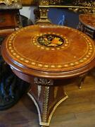 Rare Louis Xvi Style Gilt Bronze Round Mounted Mahogany Stenciled Table
