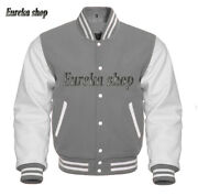Varsity Letterman Bomber Baseball College Jacket Wool And Real Leather Sleeves