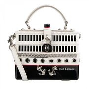 Dolce And Gabbana Yacht Boat Hand Painted Dolce Box Bag White Black Silver 07926