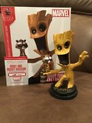 Signed Marvel Animated Groot And Rocket Raccoon Gentle Giant Statue Skottie Young