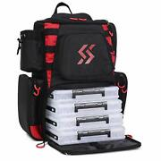 Fishing Tackle Backpack Waterproof Tackle Bag Black Backpack With 4 Trays
