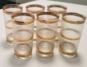 Mid-century Culver Highball Tumbler Glasses 22k Gold Banded Icicle Pattern Set 6