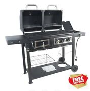 Gas And Charcoal Combo Grill, Black Stainless Steel Outdoor Bbq, Free Shipping