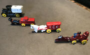 Vintage Miniature Cast Iron Horse Drawn Ice Truck+fire Truck Toys Lot Of 4