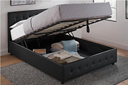 Dhp Cambridge Upholstered Faux Leather Platform Bed With Wooden Support Queen Sz