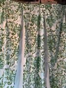 Paisley Green And White Filigree Pattern Curtain Panels Or Shower Curtains Set 2