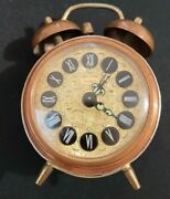 Working Jerger Alarm Clock Gold Brass Wind Up Made In West Germany Vintage