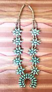 Vintage Rustic Old Zuni Turquoise Cluster Sterling Silver Squash Necklace