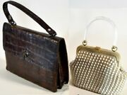 Set Of 2 Vintage Woman Handbags 1 Of Crocodile Skin And 1 Lacy Stones Decoration