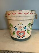 Vintage Wooden Stave Bucket Hand Painted Pastel Dutch Style Floral Rope Handles