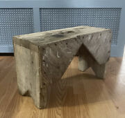 """Antique Vtg Primitive Wooden Milking Bench White Washed Stool Very Heavy 14"""" T"""