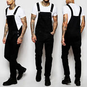 Menand039s Denim Casual Loose Overalls Jeans Dungarees Bib Pants Jumpsuit Trousers Us