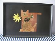 Vintage Cat Inlaid Tray Couroc Of Monterey Large Made In California Mcm 18x12
