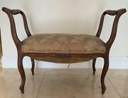 19th Century French Louis Xv Arm Bench - Antique Furniture