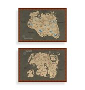 The Elder Scrolls Set Of 2 Maps Tamriel And Skyrim - Prints - Posters - Gaming