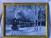 Bill Paxton Train And Snow Sceneoil On Canvas Boardsigned.