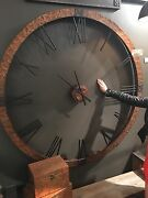 Farmhouse 60 Hammered Copper Sheeting Round Wall Clock Restoration Look