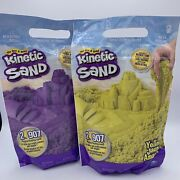New Lot Of 2 - 2 Lb Bags Of Kinetic Sand Yellow And Purple Resealable Bags