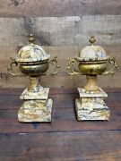Pair 19th Century Antique French Gilt Bronze Covered Urn Shaped Vases Circa 1850