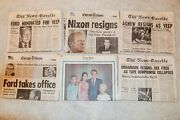 6 President Nixon Resigns And Ford Watergate Newspaper Impeach