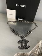 19p Stained Class Necklace Cc Short Choker So Black Blue Crystal Nwt New