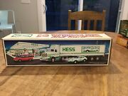 1992 New Hess Oil Co Toy Truck 18 Wheeler And Racer With Sounds And Lights Tested