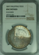 1897 Philippines 1 Peso Silver Coin Toned Ngc Unc Details Cleaned
