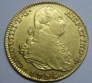 1796 Madrid 4 Escudos Charles Iv Spanish Gold Spain Coin Colonial High Grade