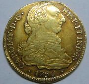 1790 Popayan 4 Escudos Charles Iv Colombia Spanish Gold Coin Colonial High Grade