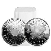 Roll Of 20 - 1 Oz Sunshine Mint Silver Round .999 Fine Lot Tube Of 20