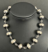 Sterling Silver 16mm Pearls Rosary Bead Necklace. 16 Inch.