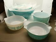 Pyrex Turquoise Amish Butterprint Cinderella Mixing Bowls And Casserole Dishes