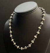 Sterling Silver 8mm Pearls Rosary Bead Necklace. 26 Inch.