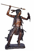 Indian Worrier Throwing A Spear Bronze Statue - Size 15l X 23w X 38h.