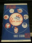 1951 New York Yankees Program And Score Card Vs Indians Mickey Mantle