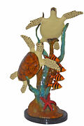 Two Turtles Swimming With Clown Fish Bronze Statue - Size 18l X 31w X 42h.