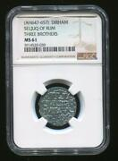 Dirham Seljuq Of Rum Coin Ah647-657 Ngc Ms 61 Free Shipping With Tracking8932n