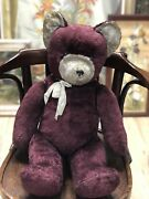 Rare Vintage Brown Toy Mohair Huge Early Teddy Bear Hump Straw