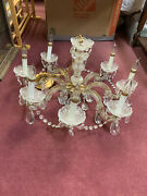 Exquisite Vintage Brass And Glass 8-arm Prism Chandelier - Reduced