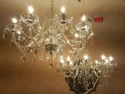 A Pair Of Gorgeous Large Elegant French Style Glass And Crystal Chandeliers