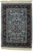 Small Size Teal Blue Hand-knotted 2x3 New Kirman Oriental Rug Home Decor Carpet
