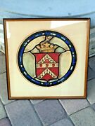 Antique 18 -19th C British English Painted On Paper Painting Family Coat Emblem