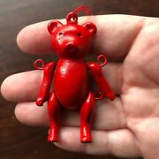 Vintage Christmas Ornament Teddy Bear Solid Metal Red Enamel Jointed Movable