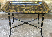 Antique Regency Tray Table Black Lacquered And Gilt Acanthus