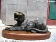 Chinese Pure Copper Bronze Catamount Panther Tiger On Base Cheetah Wood Statue