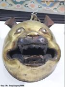 Chinese Folk Fane Monastery Old Red Copper Gold Gilt Animal Bear Face Head Mask
