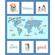 34.5 X 44 Panel World Maps Cultures Ethnicities Cotton Fabric Panel D694.58